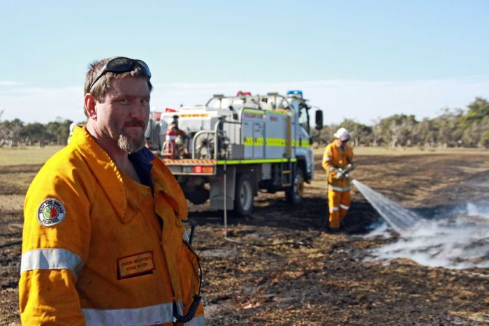 Volunteers such as King River firefighter Simon Whitfort are on their last legs. Photo: ABC