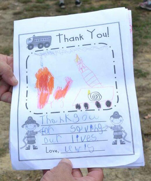 Allanson Primary School students giving a donation to the Allanson Volunteer Bush Fire Brigade in Collie Western Australia Photo: Breeanna Tirant