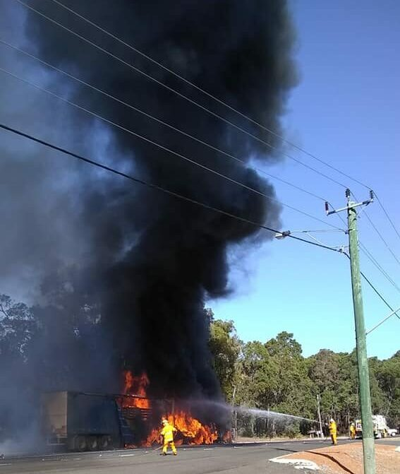 Kirup Brazier Volunteer Bush Fire Fighters working to fight a fire that started on a semi-trailer on the South Western Highway in March 2019