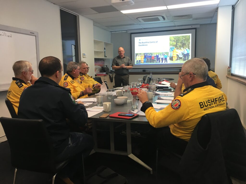 Department of Fire and Emergency Services (DFES) Bushfire Centre of Excellence (BCoE) John Tillman discussing the BCoE and WA Gov't bushfire training with the State Committee of the Association of Volunteer Bush Fire Brigades 15 June 2019