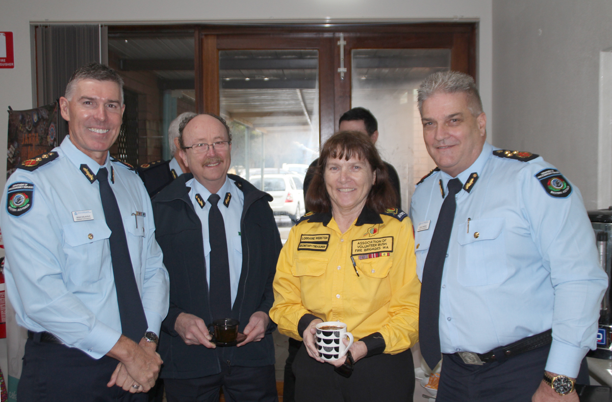 Department of Fire and Emergency Services Brad Delevale, Mal Cronstedt, AVBFB Secretary/Treasurer Lorraine Webster and new DFES Deputy Commissioner Craig Waters