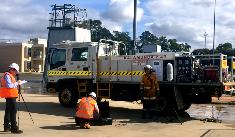 Sound level testing at DFES Training Academy July 2019