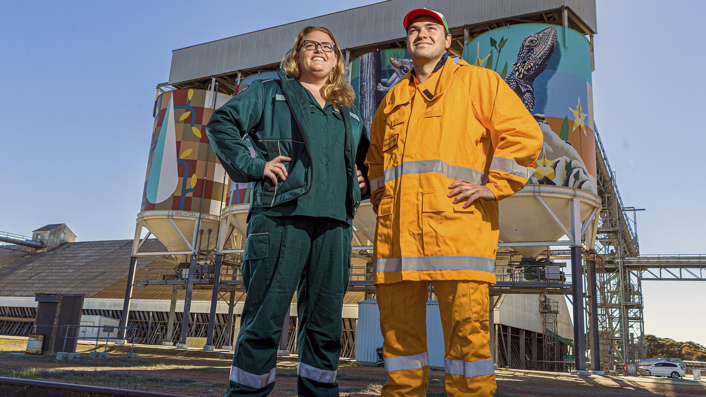 Volunteer ambulance officer Rebekah Dunkeld and Newdegate Fire Brigade captain Stefan Greyling. Picture: Countryman/Jon Gellweiler