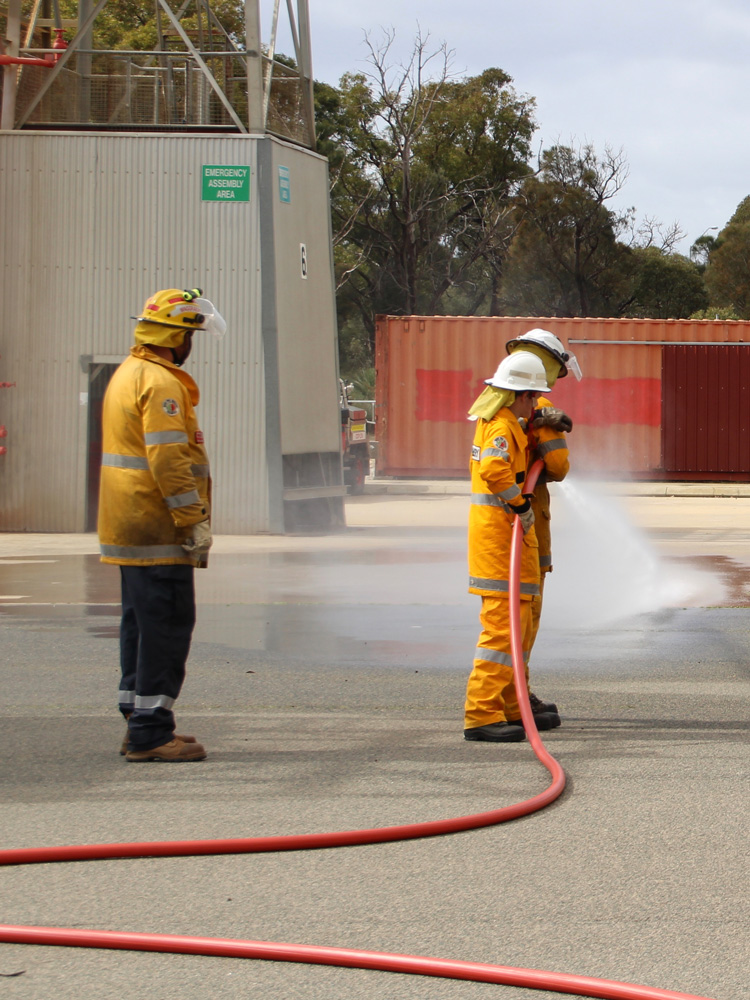 Bunbury and Waggrakine Volunteer Bush Fire Cadets training at the DFES Forestfield FRS academy