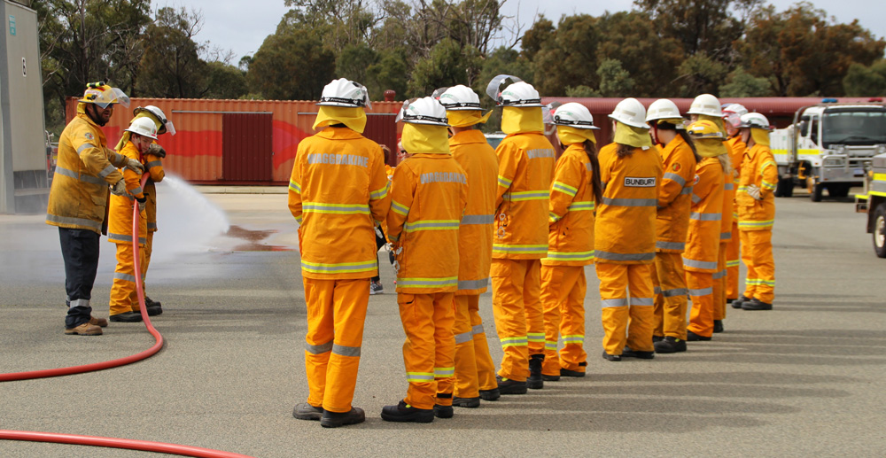Bunbury and Waggrakine Volunteer Bush Fire Cadets training at the DFES Forrestfield FRS academy