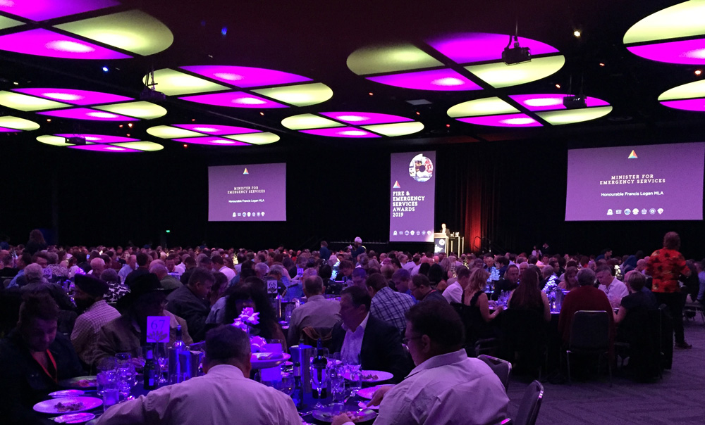 WA Emergency Services Minister Hon Fran Logan MLA opening the 2019 Fire and Emergency Services  Awards gala dinner on Saturday 7 September 2019 at the Perth Convention and Exhibition Centre