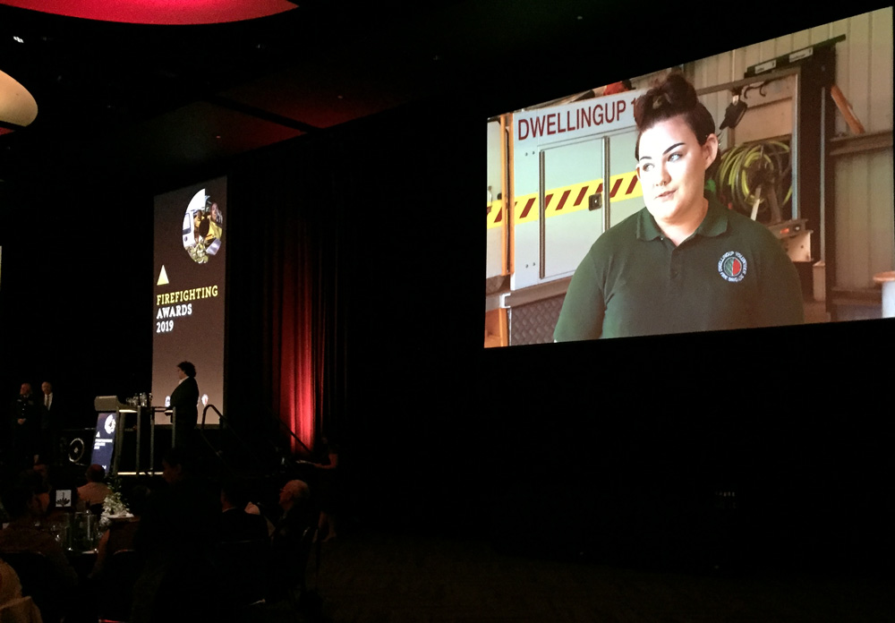 Charli Campbell-Warr from the Dwellingup BFB Cadets - nominee for the Youth Achievement Award at the 2019 Fire and Emergency Services Gala Awards night 7 September 2019 Perth Convention and Exhibition Centre