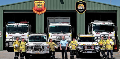 Wanneroo chief bush fire control officer Paul Postma (centre) with Quinns Rocks Bush Fire Brigade and Wanneroo Fire Support Brigade volunteers Bill Knijf, of Beldon, Ray York, of Sinagra, Tara Andrews, of Butler, Terri Walker, of Quinns Rocks, Todd Miliaresi, of Butler and Ron Clark, of Tapping. Pictures: David Baylis www.communitypix.com.au d496392