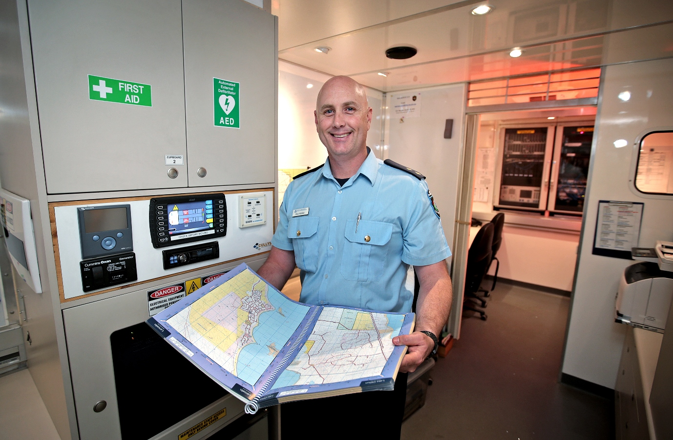 Wanneroo chief bush fire control officer Paul Postma in the incident control vehicle. Photo Community News