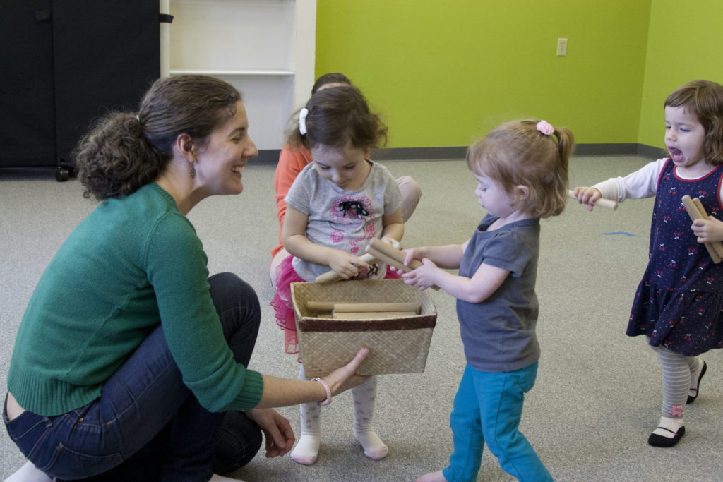 Toddlers explore musical sounds
