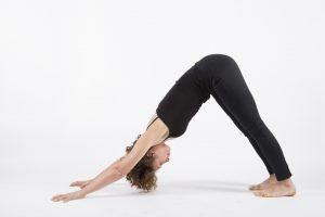 Yoga posture adho mukha svanasana downward facing dog white background