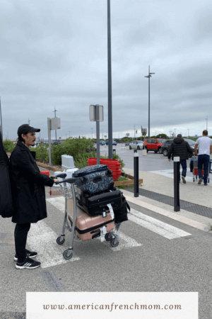 Marseille Airport during France lockdown with luggage during American mom's first two weeks living in France during lockdown