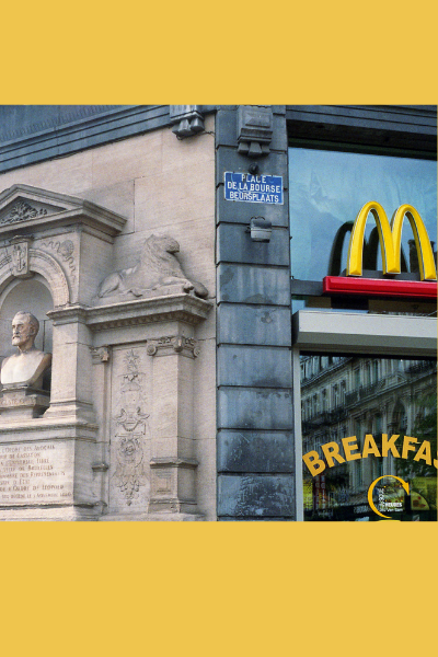 All Saints' Day. McDonald's in France, Europe. American Invasion taking over