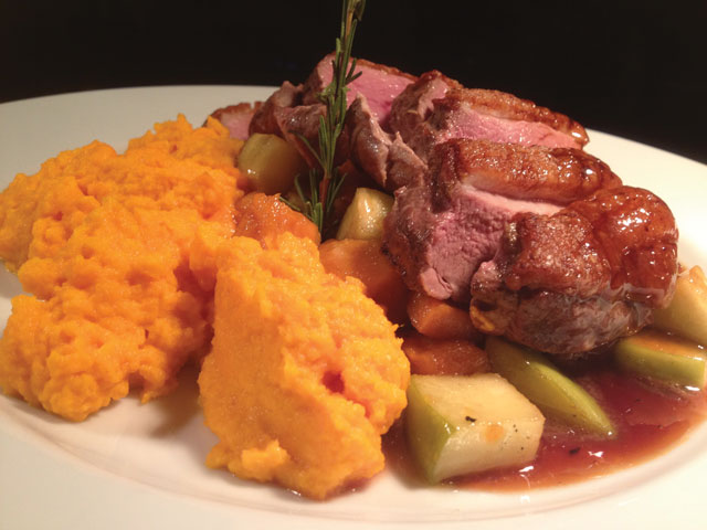 Organic Duck Breast with Ginger Carrot Puree, Ginger Orange Sauce  and Sautéed Apples and Sweet Potatoes