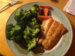 A balanced meal - healthy protein, healthy carb, lots of healthy greens!