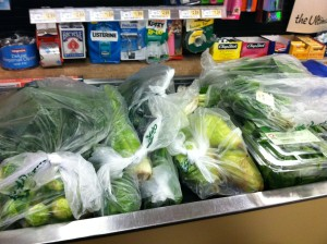 Client's groceries with greens veggies!  yeah :)