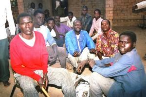 Men gathered at a Vimbuza dance.