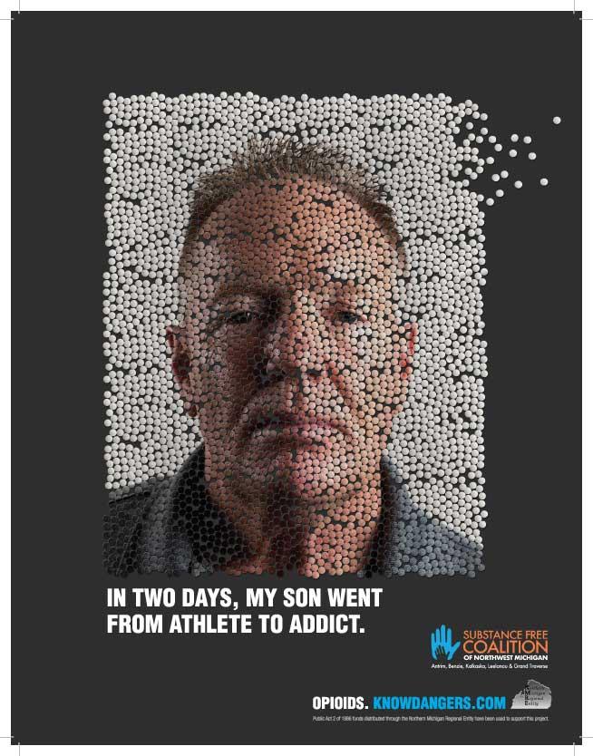 Pill mosaic of a man's face