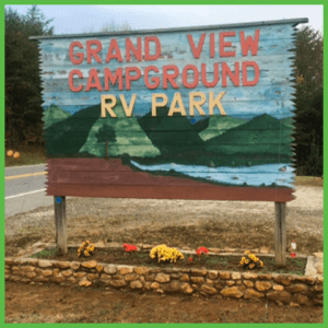 Get directions from our map, but as you travel on NC Hwy 226, look for this sign at the entrance to Grand View Campground & RV Park.