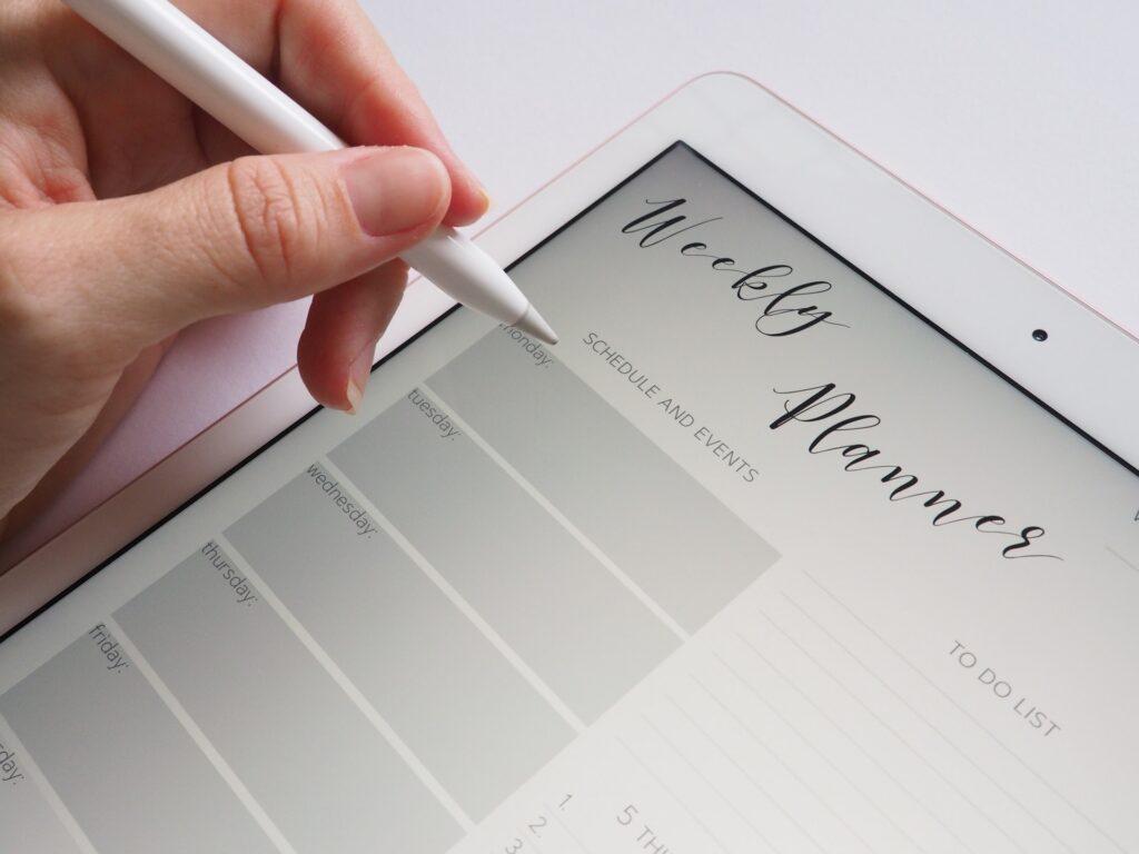 Tablet, calendar, planner, stylus