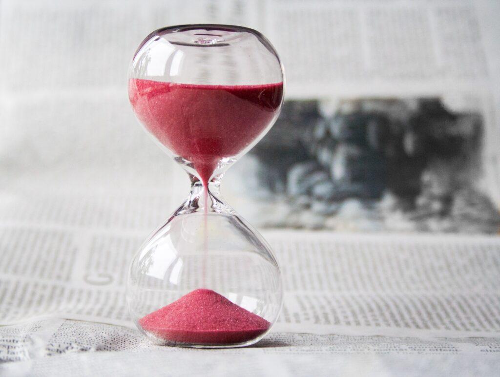Hourglass, red sand