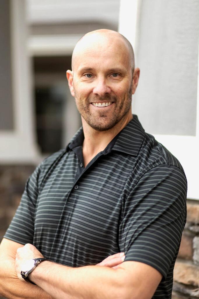 Man, striped shirt, smile