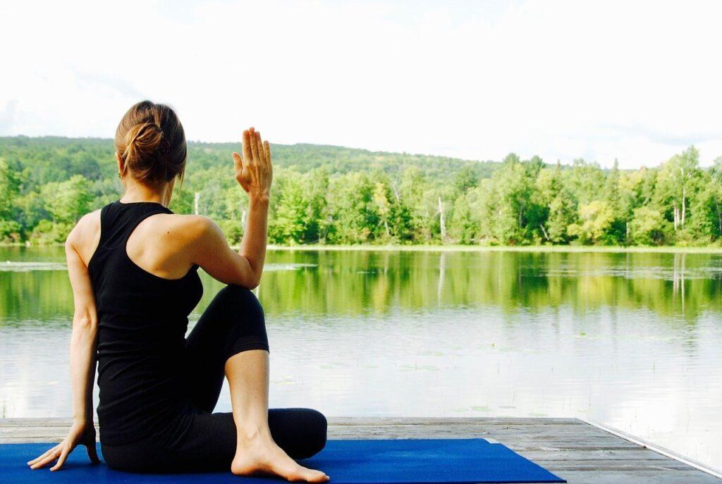 yoga, woman, nature