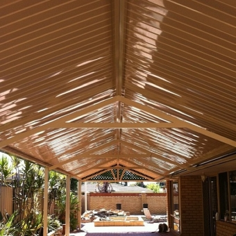 Very high gloss c-deck roofing in gable patio