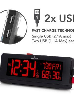 COLOR ALARM CLOCK & USB CHARGING