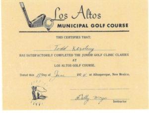 Junior Golf Certificate