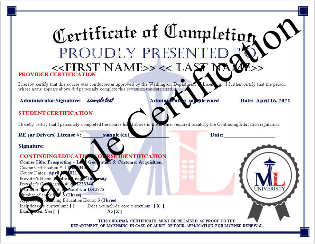 Sample Continuing Education Certificate