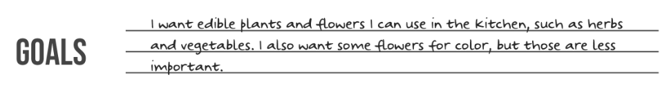 A screenshot of the goals section of the garden planner reading,