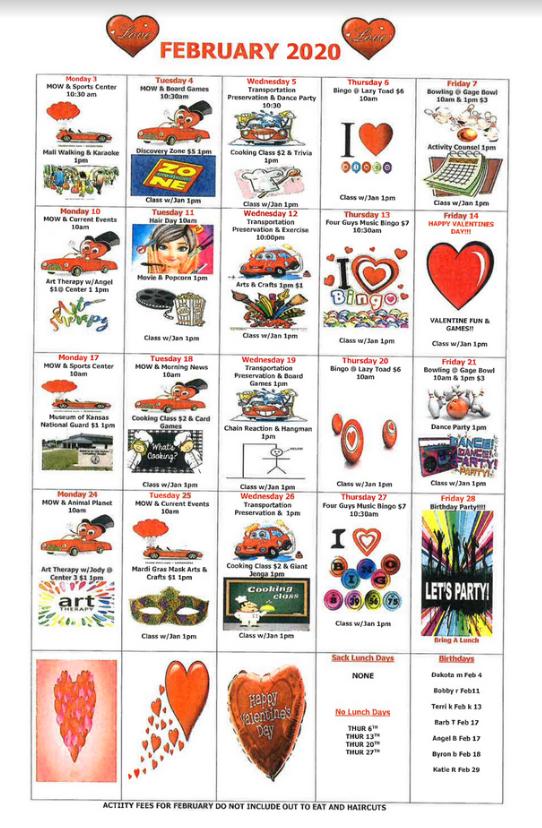February 2020 Day Services Calendar - PDF / Printable