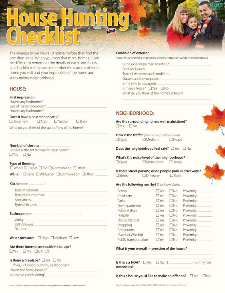 Home Hunting Checklist