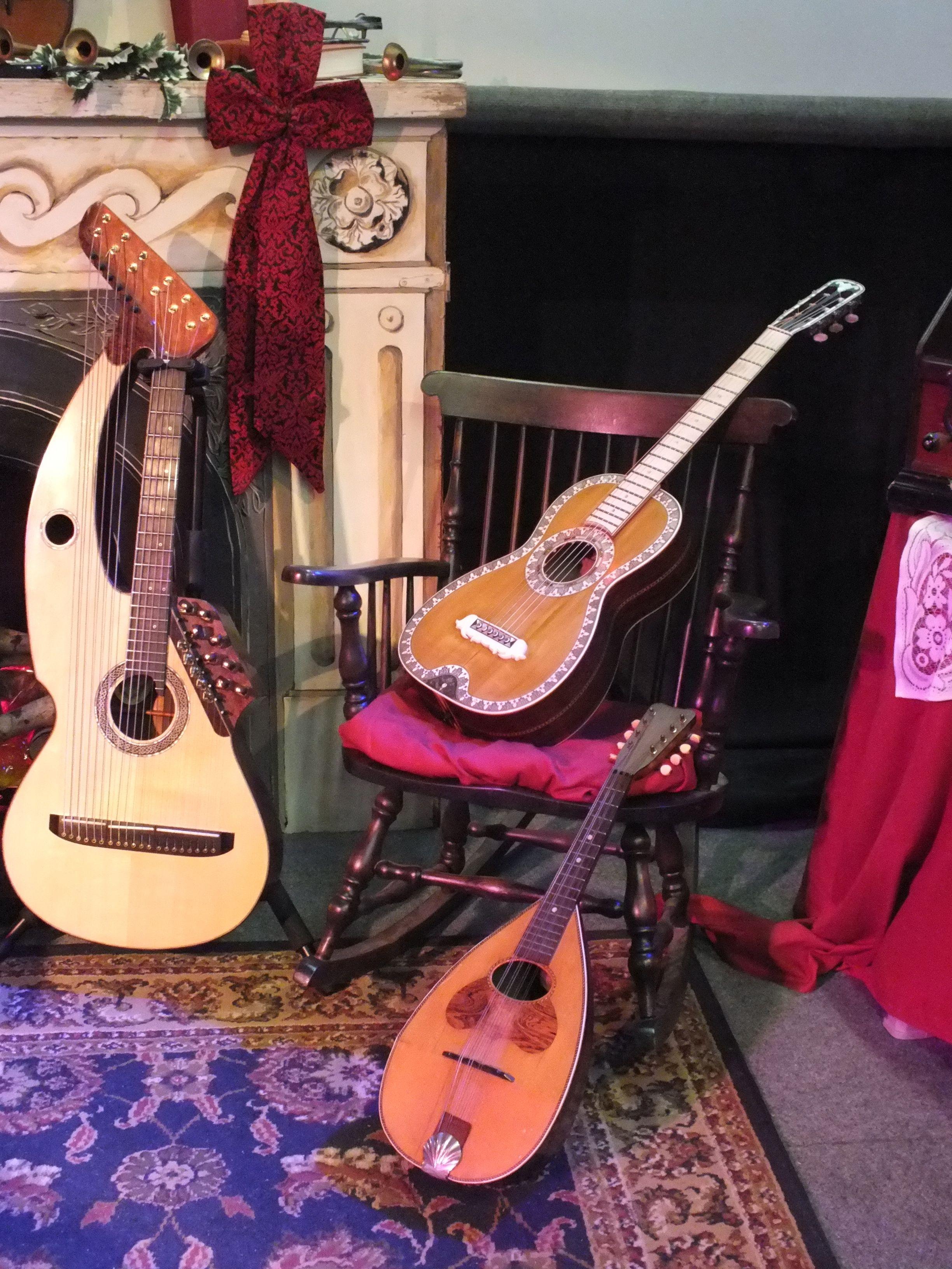 Harp Guitar, Mandoline, and accoustic guitar collection - John Doan.