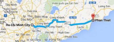 Map Ho Chi Minh City to Phan Thiet