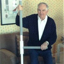 Superpole by Healthcraft provides support for elderly man in Atlanta GA home
