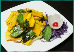 Komol Thai Restaurant - Pumpkin Stir-Fried with Basil Leaves