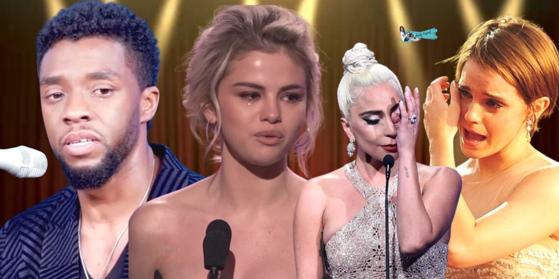 celebrities crying on stage
