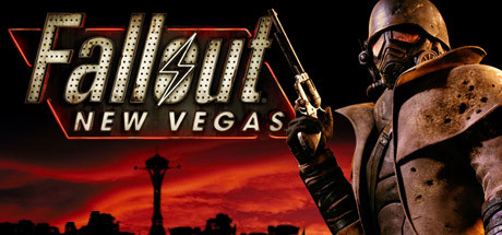 Fallout: New Vegas | A man in armor and a breathing mask holds a gun standing against a red sky