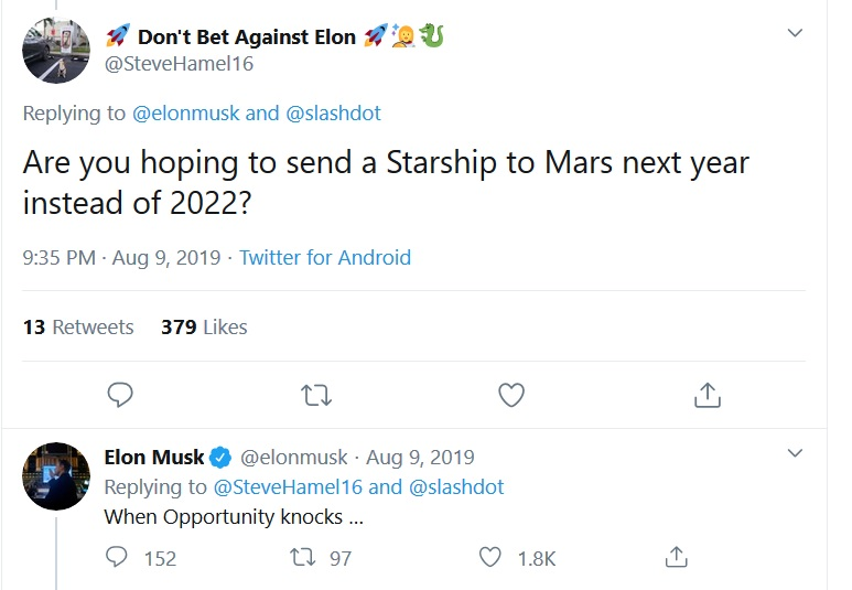 SpaceX Starship Mars Elon Musk Twitter