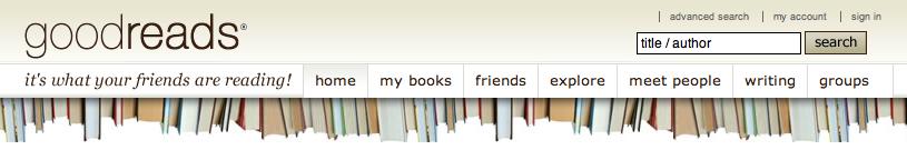 Goodreads logo and menus