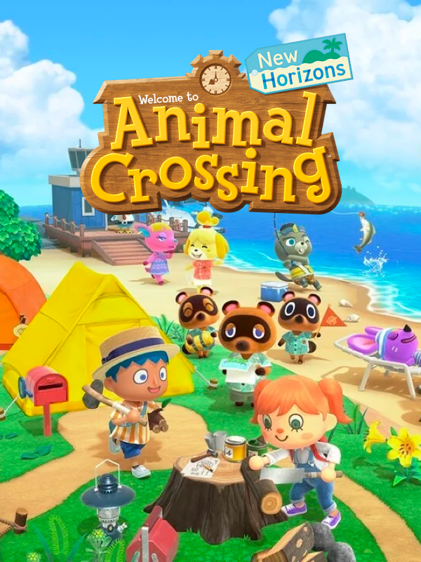 Animal Crossing: New Horizons game cover showing player characters and animals on an island