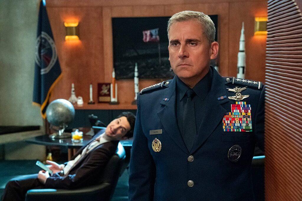 Space Force Netflix Show still of Ben Schwartz and Steve Carell
