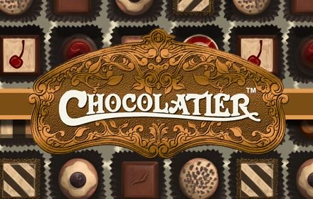 Chocolatier logo surrounded by chocolates