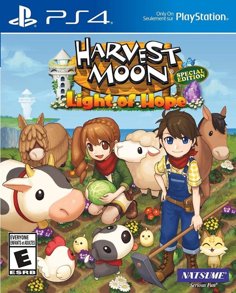Harvest Moon PS4 title with player characters, animals, and crops