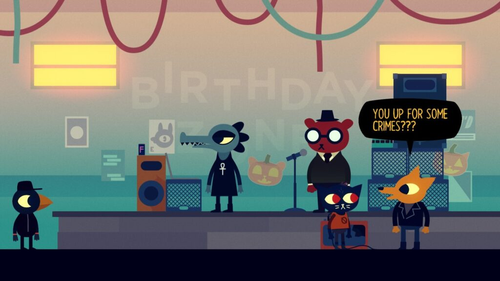 """Night in the Woods characters: crow, alligator, bear, cat, and fox. Fox is saying """"You up for some crimes???"""""""