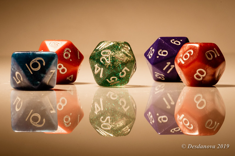 Colorful dice used for playing D&D