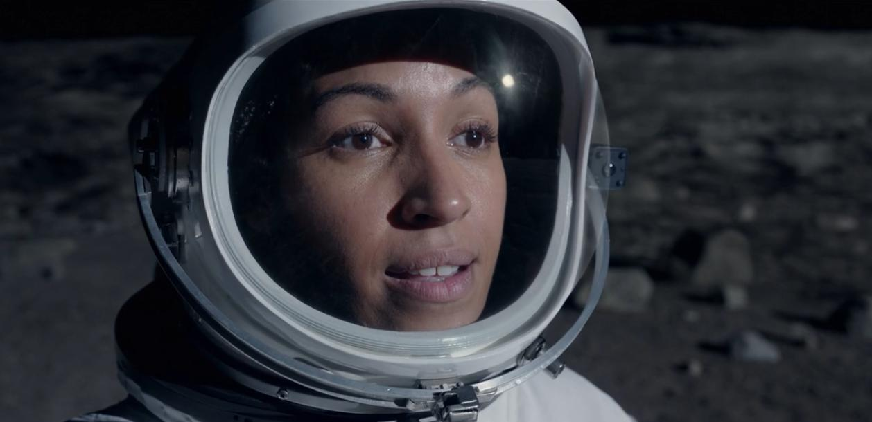 Tawney Newsome as an astronaut on the moon in Netflix's Space Force