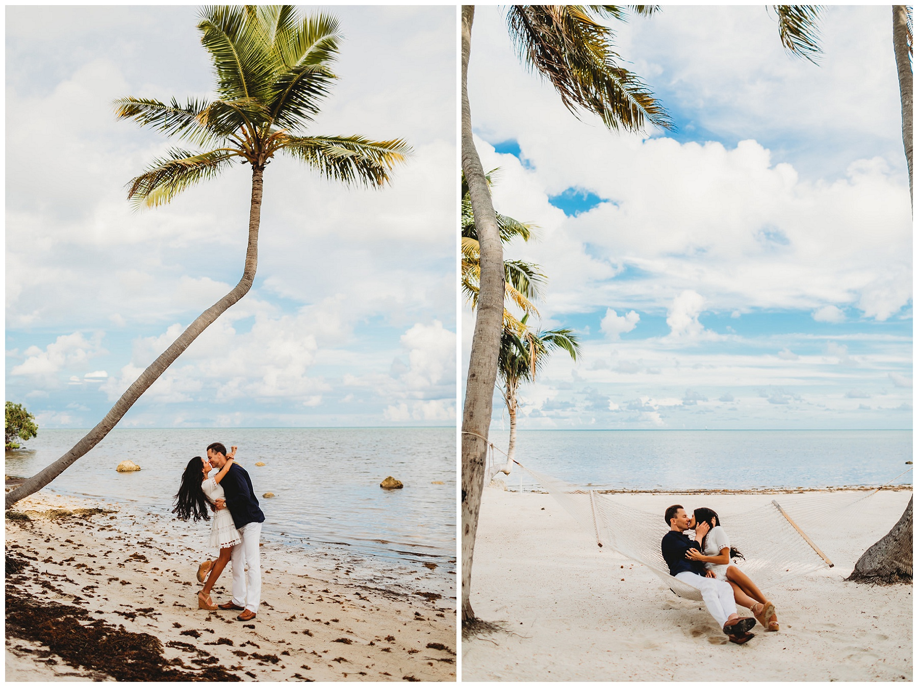 couple portraits by a palm tree and hammock